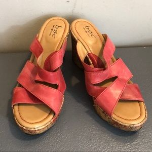 BOC BORN RED STRAP WEDGE SANDALS CORK SLIPON SZ 9
